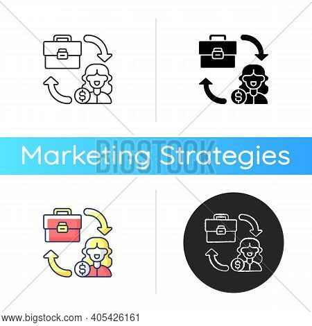 B2c Marketing Icon. Selling Different Products Directly To Customers, Bypassing Any Third Party Reta