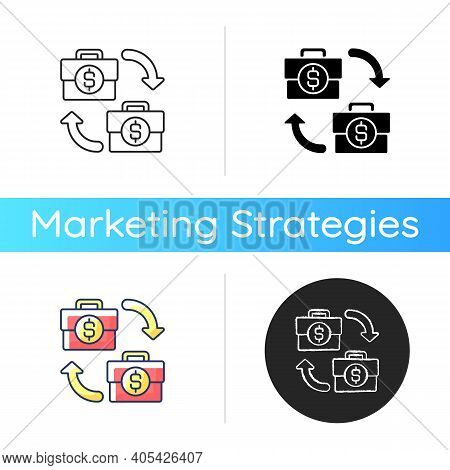 B2b Marketing Icon. Situation Where One Business Makes Commercial Product Transaction With Another C