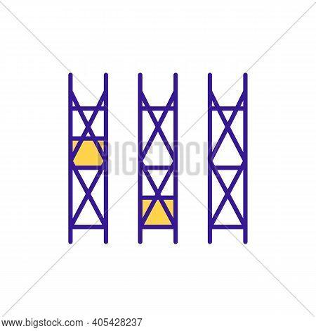 Storehouse Vertical Shelves Rgb Color Icon. Merchandise Storage. Factory Space Organization. Warehou