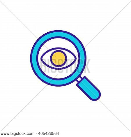 Investigation With Magnifier Rgb Color Icon. Information Analysis. Data Survey. Find Details. Wareho