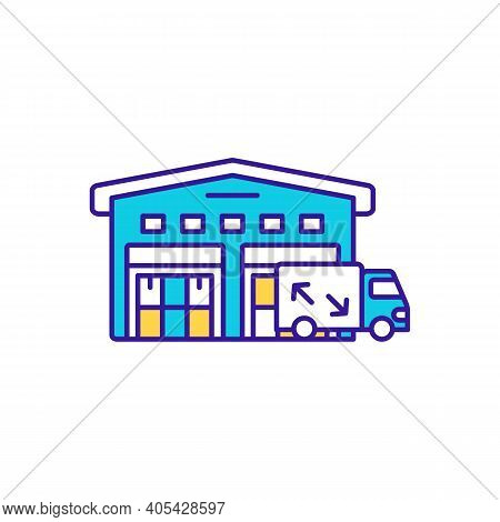Storehouse Delivery Rgb Color Icon. Merchandise Distribution. Truck Carrying Cargo. Factory Storage,