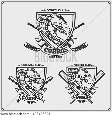 Cricket, Baseball And Hockey Logos And Labels. Sport Club Emblems With King Cobra. Print Design For