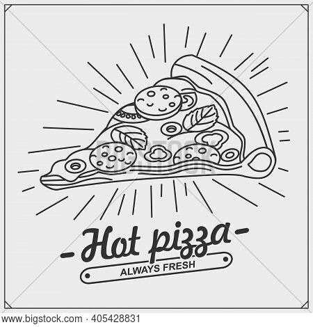 Pizza Slice Icon And Logo. Emblem For Pizzeria.