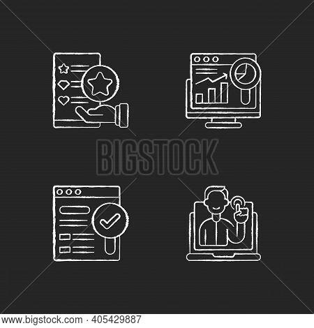 Web Analytics And Management Chalk White Icons Set On Black Background. Usability Evaluation. Intera