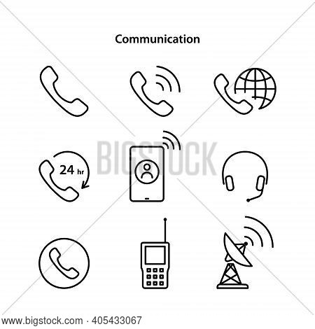 Communication Icons. Icons And Reflections Are Separated.