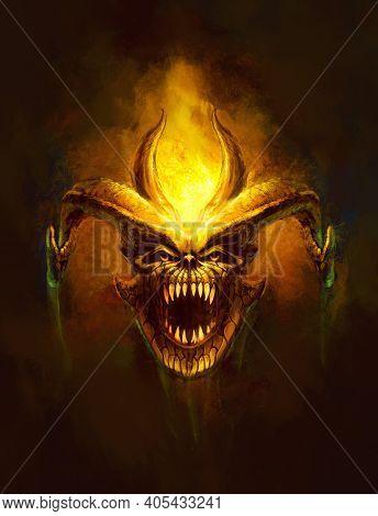 Head Of A Horned Monster, Bared Teeth