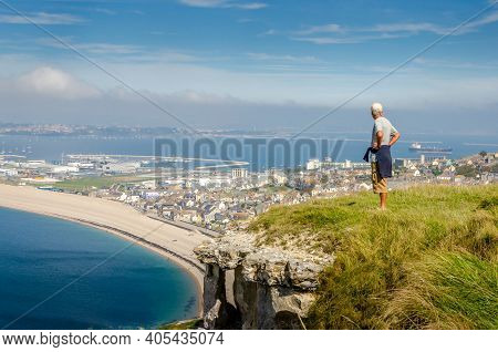 Panorama Of Chesil Beach From The Isle Of Portland Cliff Tops, Portland, Dorset, Uk