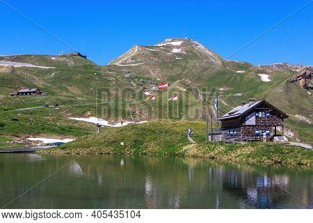 Fuscher Lacke, Austria - June 30, 2019: Highland Lake Fuscher Lacke, Grossglockner High Alpine Road,