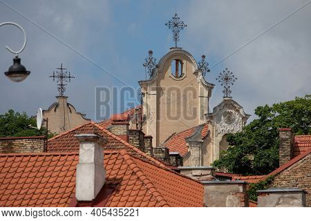 Crosses On The Roof Of The St. George's Church In Vilnius, Lithuania