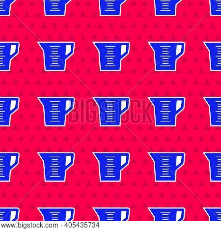 Blue Measuring Cup To Measure Dry And Liquid Food Icon Isolated Seamless Pattern On Red Background.