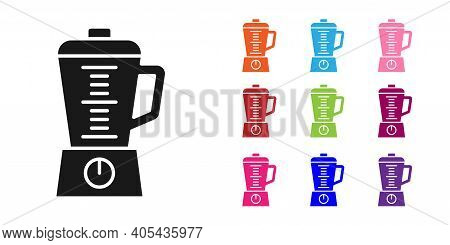 Black Blender Icon Isolated On White Background. Kitchen Electric Stationary Blender With Bowl. Cook
