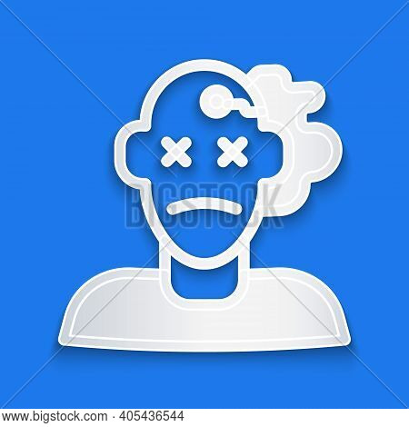 Paper Cut Murder Icon Isolated On Blue Background. Body, Bleeding, Corpse, Bleeding Icon. Concept Of