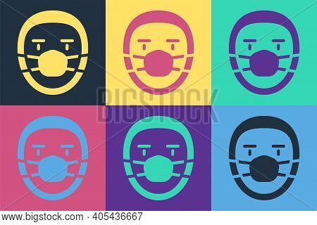 Pop Art Doctor Pathologist Icon Isolated On Color Background. Vector