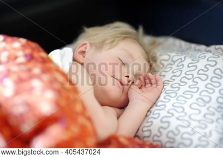Cute Little Boy Sweet Sleeping. Afternoon Sleep Of Preschooler Child. Tired Baby Having Nap. Cozy An