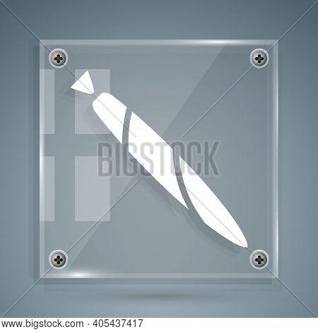 White Marijuana Joint, Spliff Icon Isolated On Grey Background. Cigarette With Drug, Marijuana Cigar