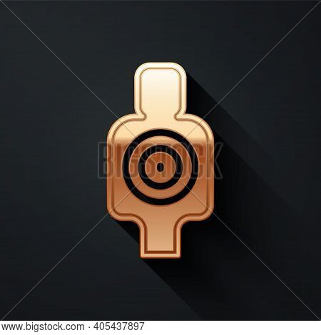 Gold Human Target Sport For Shooting Icon Isolated On Black Background. Clean Target With Numbers Fo
