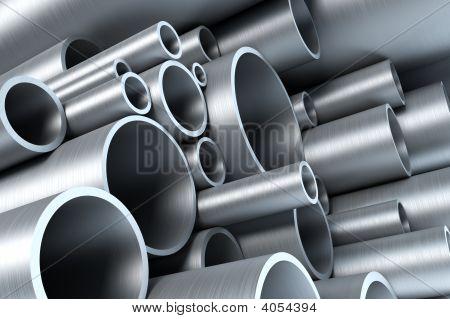 Stapel aus Stahlrohr