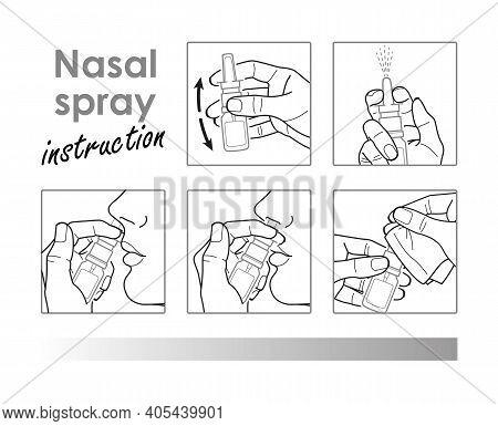 Nasal Spray Instruction. Runny Nose. Vector Linear Illustration. Rhinitis