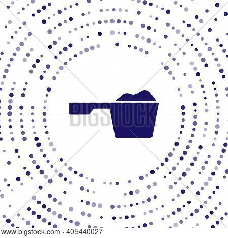 Blue Washing Powder In A Measuring Cup Icon Isolated On White Background. Abstract Circle Random Dot