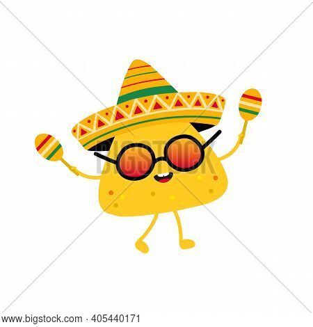 Cute Cartoon Style Nacho, Tortilla Chip Character Dancing In Sombrero. Mexican Festival Food Concept