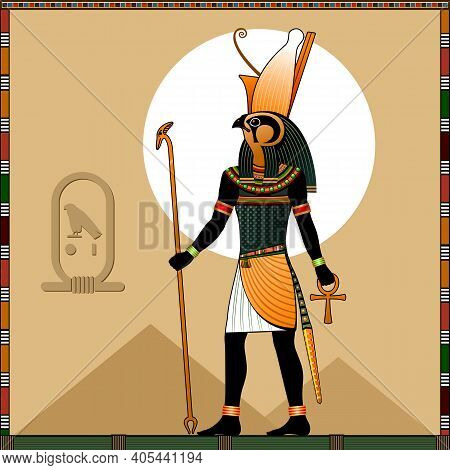 Religion Of Ancient Egypt. God Horus. Horus Is A Ancient Egyptian God Of Heaven And Royalty, The Pat