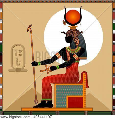 Religion Of Ancient Egypt. Goddess Hathor. Hathor Is A Ancient Egyptian Goddess Of Of Love, Heaven,