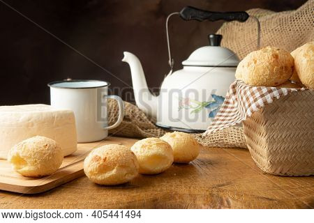 Cheese Bread, Brazilian Breakfast Arrangement, Cheese Bread, White Cheese, Kettle And Accessories, D