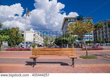 Alanya, Turkey - October 20, 2020: Special Corona Covid-19 bench, for keeping distance on Alanya promenade - Ahmet Tokus Boulevard along all Beaches.  Alanya,Mediterranean coast. Turkey.