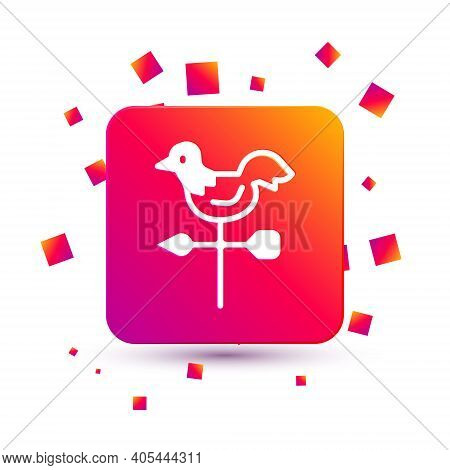 White Rooster Weather Vane Icon Isolated On White Background. Weathercock Sign. Windvane Rooster. Sq