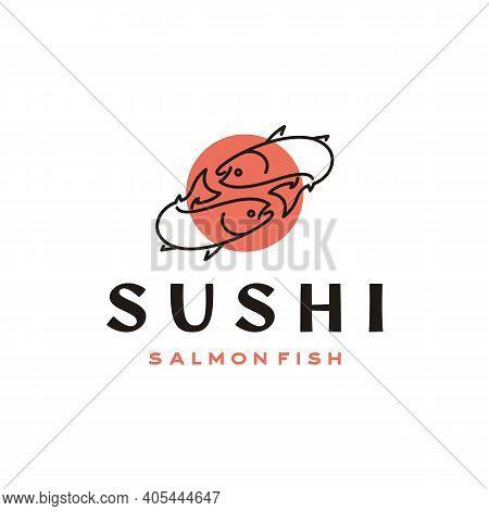 Line Art Salmon, Sushi, Poke Bar Logo Design Inspiration Vector