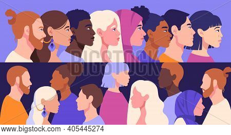 Racial Diversity And Anti-racism Concept. Silhouettes Of Men And Women Belonging To Different Races,