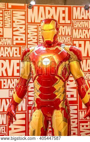 Tokyo, Japan - April 20, 2017: Portrait Of Iron Man Model From Age Of Heroes Movie At Mori Tower, Ro