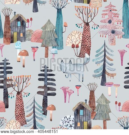 Watercolor forest. Cute wolf walks through the forest. Repeating pattern of trees, mushrooms and wolf.