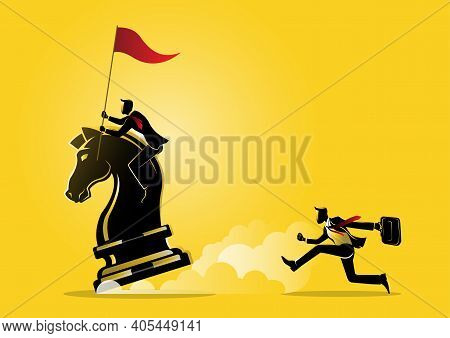 An Illustration Of A Businessman Riding A Chess Horse With Flag