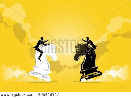 An Illustration Of Two Businessman Riding A Chess Horse On Yellow Background