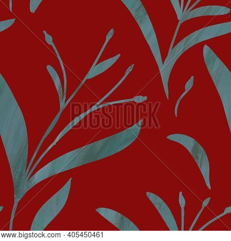 Seamless Pattern With Hand-drawn Shining Blue Gradient Branches On Red Background. Linen, Bedclothin