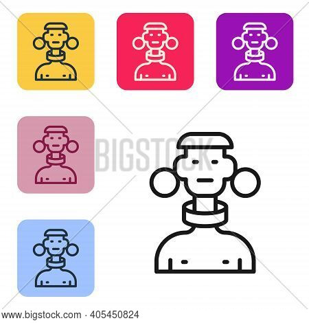 Black Line African Tribe Male Icon Isolated On White Background. Set Icons In Color Square Buttons.