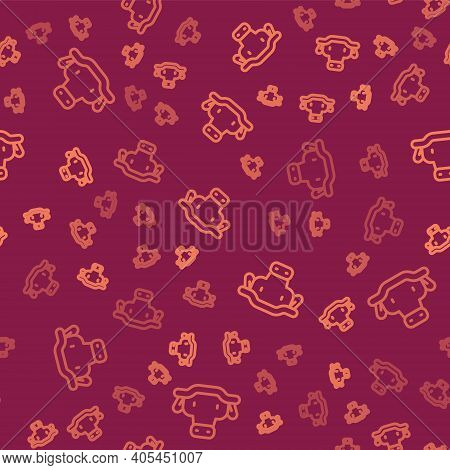 Brown Line African Buffalo Head Icon Isolated Seamless Pattern On Red Background. Mascot, African Sa