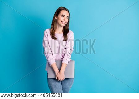 Photo Of Attractive Cute Student Lady Hold Notebook Hands Look Side Empty Space Lecture College Mode