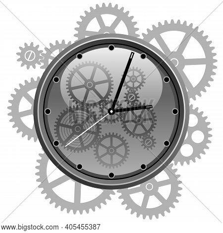 Clockwork Gear Mechanism. Black And White Clockwork Gear Mechanism. Time Clock Symbol. Vector Illust