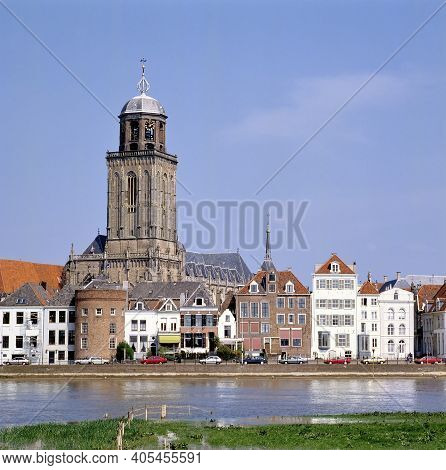 The Grote Or Lebuinues Church, Seen From The Other Site Of The River Ijssel In Deventer, Holland
