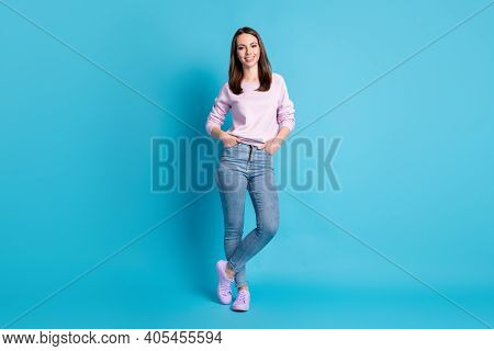 Full Size Photo Of Amazing Attractive Lady Hold Arms Pockets Good Mood Walk Street Season Look Wear