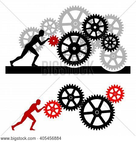 Man And Gear Mechanism. The Man Sets The Gear Mechanism In Motion. Cogwheel Image. Vector Illustrati