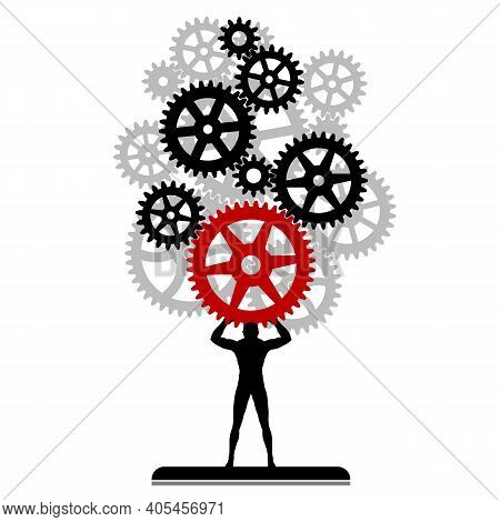 Man And Gear Mechanism. The Man Carries A Cogwheel Mechanism. Vector Illustration Of Gears Symbol.