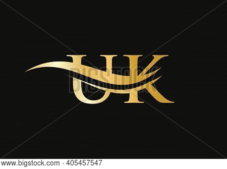 Initial Uk Letter Logo With Creative Modern Business Typography Vector Template. Creative Abstract L