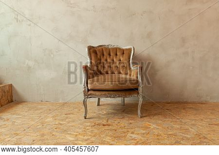 Beautiful Luxury Classic Biege Clean Interior Room In Grunge Style With Brown Baroque Armchair. Vint