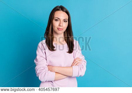 Photo Of Pretty Self-confident Bossy Lady Hold Arms Crossed Top Manager Best Worker Amazing Ceo Expe