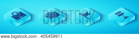 Set Isometric Laptop With Location Marker, Infographic Of City Map Navigation, Road Traffic Sign And