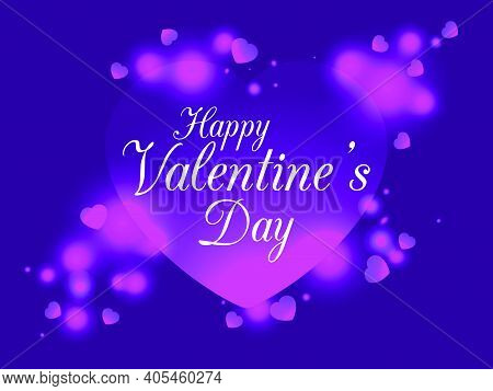 Valentine's Day, February 14th. Greeting Card With An Inscription On The Background Of Hearts With B