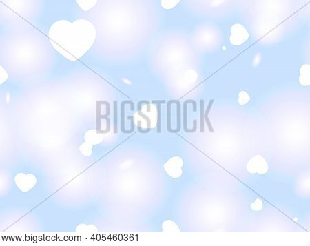 Valentine's Day, February 14th. Seamless Pattern With Hearts And Glowing Light. Bokeh Effect And Glo